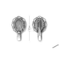 Заколка-зажим с овальной ажурной основой, серебро