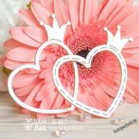 Чипборд Простая рамочка с короной в форме сердца средняя 2шт