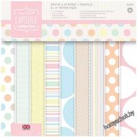 Набор бумаги для скрапбукинга Spots & Stripes Pastels, 15*15см, 16 листов