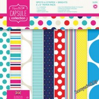 Набор бумаги для скрапбукинга Spots & Stripes Brights, 15*15см, 16 листов