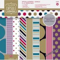 Набор бумаги для скрапбукинга Spots & Stripes Jewels, 15*15см, 16 листов