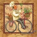Повар на велосипеде, светлый фон