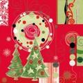Новогодний рисунок на красном фоне