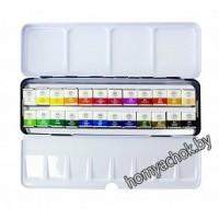 Акварельные краски MUNGYO, 24 цвета, кюветы в металлической коробке
