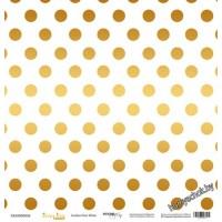 Лист односторонней бумаги с золотым тиснением 30x30 Golden Dots White от Scrapmir Every Day Gold