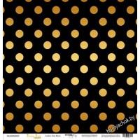 Лист односторонней бумаги с золотым тиснением 30x30 Golden Dots Black от Scrapmir Every Day Gold