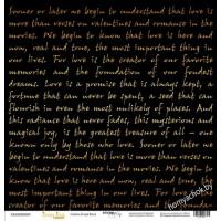 Лист односторонней бумаги с золотым тиснением 30x30 Golden Script Black от Scrapmir Every Day Gold